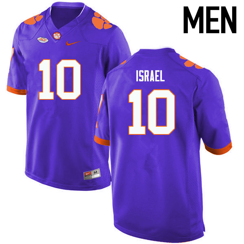 Men Clemson Tigers #10 Tucker Israel College Football Jerseys-Purple